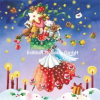 Carte Joyeux Noël ou Nouvel an Nina Chen L'Ange aux cadeaux