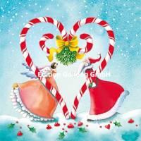 Carte Joyeux Noël ou Nouvel an Nina Chen L'Ange et le Père Noël