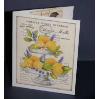 Carte double parfumée citron, Vintage, Citrons et Lavande