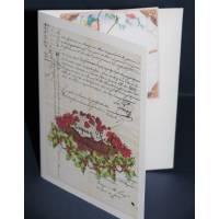 Carte double parfumée Joyeux Noel, épices de Noel et orange, Vintage, Gateau Framboises
