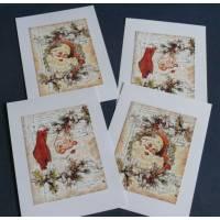 Cartes Joyeux Noël Têtes de Père Noël Vintage, paquet de 4 cartes assorties