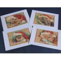 Cartes Joyeux Noël Chats en Père Noël, paquet de 4 cartes assorties