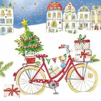 Carte Joyeux Noël ou Nouvel an Carola Pabst Vélo de Noël