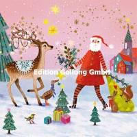 Carte Joyeux Noël ou Nouvel an Mila Marquis Père Noël et Renne