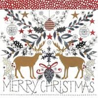 Carte Joyeux Noël ou Nouvel an Kerstin  Hess Les Rennes