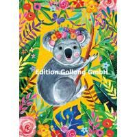Carte Anniversaire Femelle Koala et Fleurs
