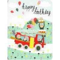 Carte Anniversaire Laetitia Haas Le camion des Pompiers