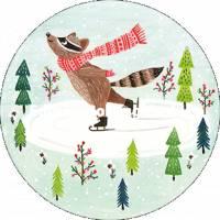 Carte Nouvel an ronde Raton Laveur Patineur