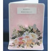 Carte Anniversaire 3 D Stephanie Dyment Fond rose paillettes dorées