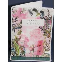 Carte Anniversaire 3 D Stephanie Dyment Fond rose et vert paillettes dorées