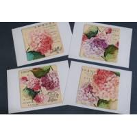 Cartes Anniversaire vintage, Hortensias, paquet de 4 cartes