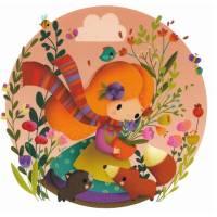 Carte Elen Lescoat Petite Fille, Fleurs et Animaux des bois