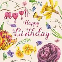 Carte Anniversaire Nina Chen Happy Birthday Papillon et Fleurs