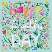 Carte Anniversaire Mila Marquis Happy Birthday dans les Fleurs