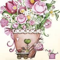 Carte Anniversaire Sabina Comizzi Jeune Femme et Pot de Fleurs
