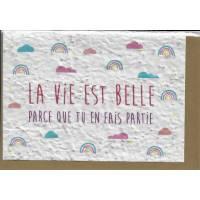 """Carte à planter """"La Vie est belle"""", graines de Fleurs des champs"""