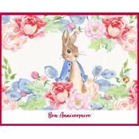 Carte Anniversaire enfants Peter Rabbit et Fleurs roses