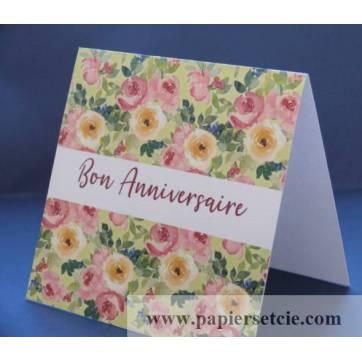 Carte Anniversaire Fleurs double aquarelle Flora