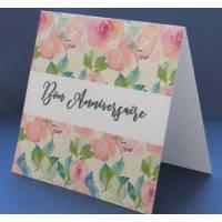 Carte Anniversaire Fleurs double aquarelle Lisa