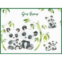 """Carte """"Gros Bisous"""" Famille Pandas reproduction d'aquarelle"""