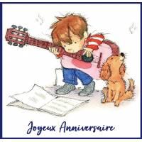 Carte Anniversaire enfants Petit Garçon à la Guitare