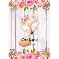 """Carte """"Gros Bisous"""" Petit Renard et Fleurs"""