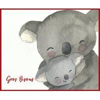 """Carte """"Gros Bisous"""" Maman Koala et Bébé reproduction d'aquarelle"""