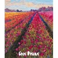 Carte Gros Bisous Peinture Champ de Tulipes