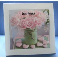 Carte double parfumée Gros Bisous Vase de Roses, parfum fleuri