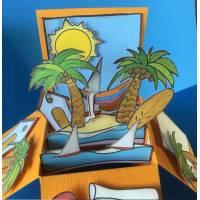 Carte 3 D Pop Up DIY à monter soi-même Vacances aux Tropiques