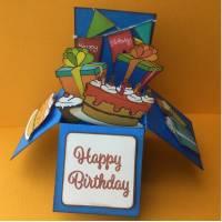 Carte 3 D Pop Up DIY à monter soi-même Bon Anniversaire bleu