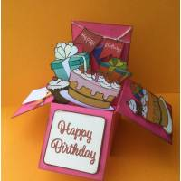 Carte 3 D Pop Up DIY à monter soi-même Bon Anniversaire rose