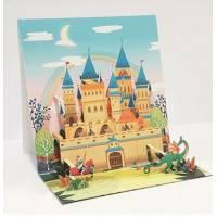 Carte 3 D Pop Up Chateau, chevalier et Dragon