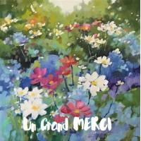 Carte Merci Peinture champ Fleurs bleues et jaunes