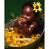 Carte Merci Adorable Bébé dans un Bain de Fleurs