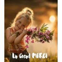 Carte Un Grand Merci Adorable Fillette et Gerbe de Fleurs