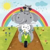 Carte Anniversaire Enfants Les Copains sur la Vespa