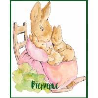 Carte Naissance Beatrix Potter Maman et Bébés Lapins