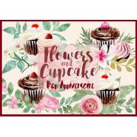 """Carte Anniversaire Gourmand """"Cupcakes and Flower"""""""