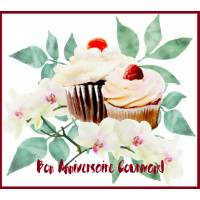"""Carte Anniversaire Gourmand """"Cupcake vanille et Orchidée"""""""