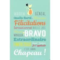 """Carte Alice de Page """"Waouw, Génial, Félicitations"""""""