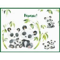 Carte Naissance artisanale Famille Pandas