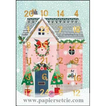 Carte calendrier de l'Avent Les Maisons de Noël
