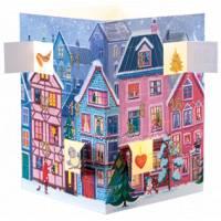 Carte calendrier de l'Avent lumineux Noël dans la ville