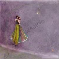 Carte simple carrée Gaelle Boissonnard Les amoureux au clair de lune