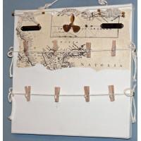 Pêle-Mêle 30x30 blanc à pinces Noeuds marins hélice