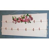 Pêle-Mêle 70x35 blanc Roses à pinces