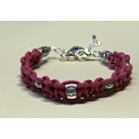 Bracelet macramé rose perles metal breloque cadenas