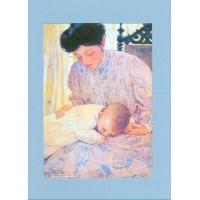 Carte artisanale double rectangulaire Rétro Aquarelle Maternité