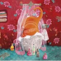 """Carte Izou """"Elephant orange dans son bain"""""""""""